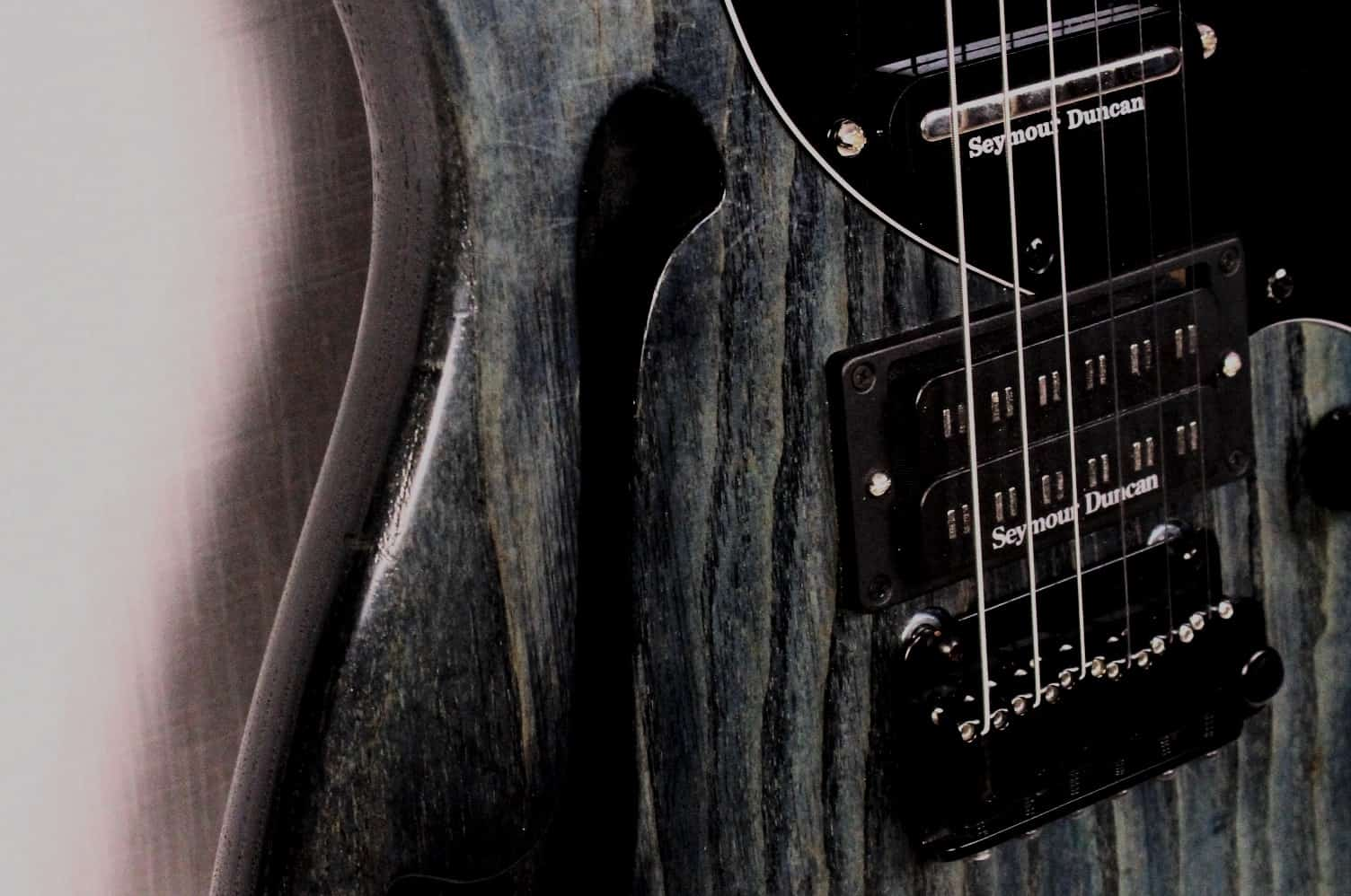 Seymour Duncan Parallel Axis and Hot Stack pick-ups on a custom thinline electric guitar