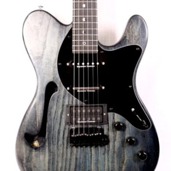 Transparent blue thinline custom electric guitar
