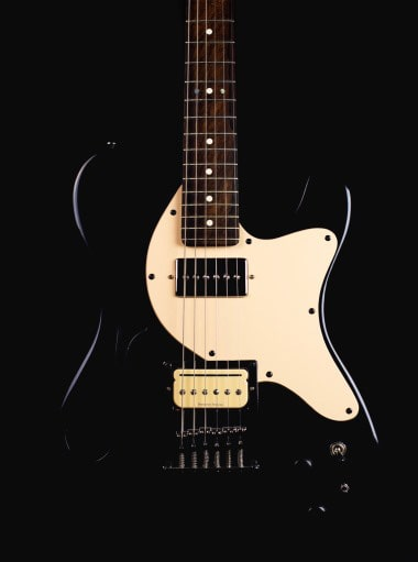 Black Solstice Transit Electric Guitar with white pickguard