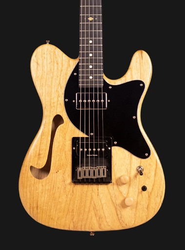 Semi-Hollowbody Solstice Transit Natural Ash Guitar with black fretboard